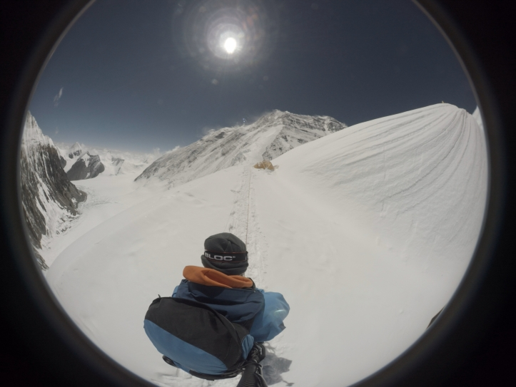 View from modified GoPro with 250 degree lens to route to Everest